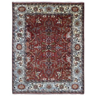 FineRugCollection Handmade Red and Beige Serapi Oriental Rug (8'1x9'11)