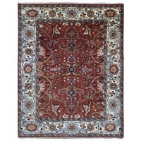 FineRugCollection Handmade Red and Beige Serapi Oriental Rug