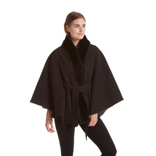 Excelled Women's Faux Wool Belted Cape