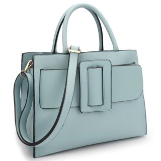 Dasein Decorative Large Buckle Design Medium Satchel Handbag