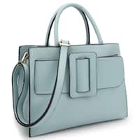 Dasein Decorative Large Buckle Design Medium Satchel Handbag