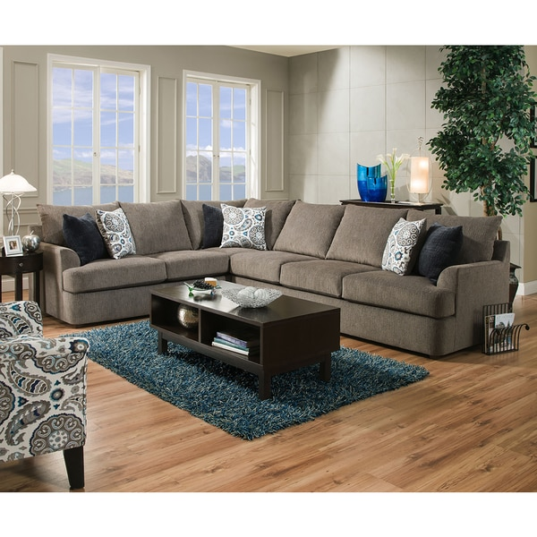 Simmons Upholstery Grandstand Flannel Sectional  sc 1 st  Overstock.com : simmons upholstery sectional - Sectionals, Sofas & Couches
