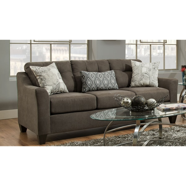 Shop Simmons Upholstery Encino Charcoal Sofa Free Shipping Today