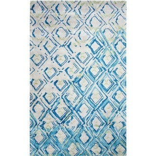 Dynamic Rugs Vogue Grey and Turquoise Viscose and Wool Handmade Area Rug (8' x 11')