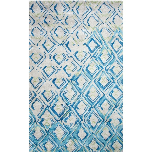 Shop Dynamic Rugs Vogue Grey And Turquoise Viscose And