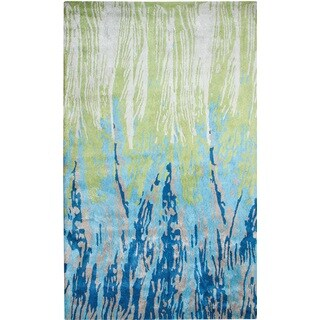 Dynamic Rugs Vogue Blue and Green Wool and Viscose Area Rug (8'x11')