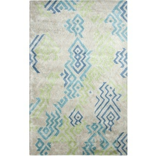 Dynamic Rugs Vogue Green and Blue Wool and Viscose Area Rug