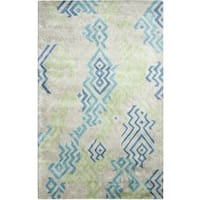 Dynamic Rugs Vogue Green and Blue Wool and Viscose Area Rug (4'x6')