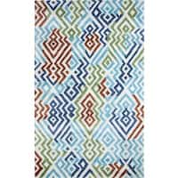 Dynamic Rugs Vogue Silver/Turquoise Wool and Viscose Area Rug (2' x 4')