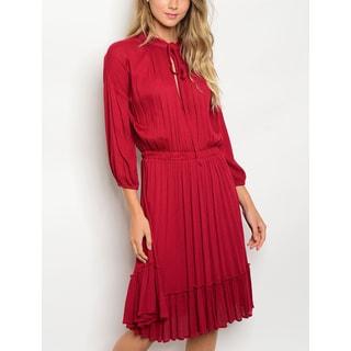 JED Women's Elastic Waist High Neck Knee Length Dress