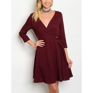 JED Women's 3/4 Sleeve A-line Dress with Buckle Belt