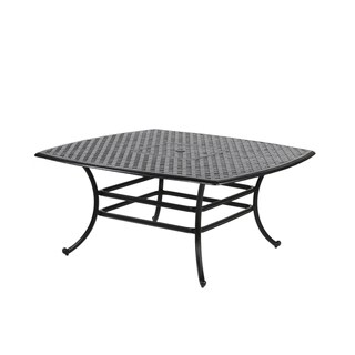 Yorkshire Aluminum 64-inch Square Lattice-patterned Dining Table