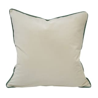 Velvet Ivory Solid Throw Throw PillowSet with Green Piping by Home Accent Pillows
