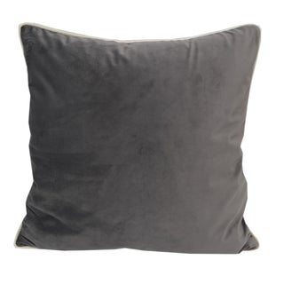 Velvet Grey Solid Throw Throw PillowSet with Cream Piping by Home Accent Pillows