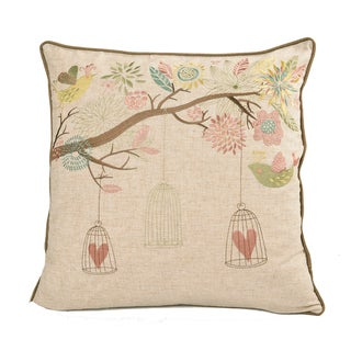 Embroidered Whimsical Shabby Chic Garden Poly Linen Throw Throw Pillowby Home Accent Pillows