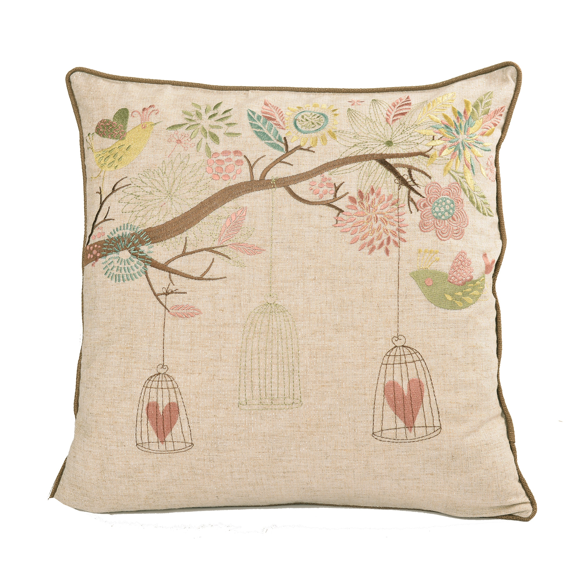 Embroidered Whimsical Shabby Chic Garden Poly Linen Throw Throw Pillowby Home Accent Pillows (Polyester - Tan)