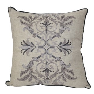 Embroidered Goehring Whimsical Damask Linen Poly Throw Pillow