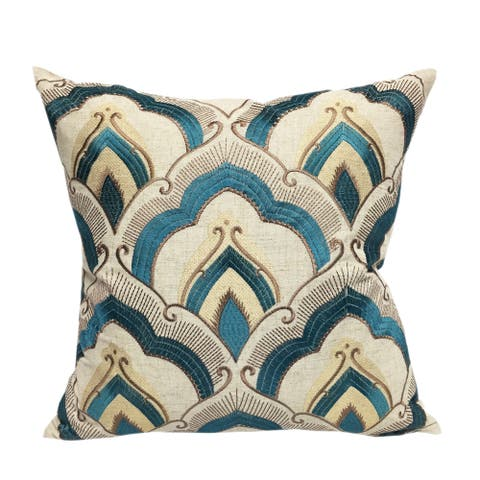 Embroidered Linen Poly Green and Teal Raybrook Throw Pillow