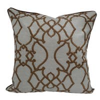 Embroidered Geometric Tan Poly Linen Poly Linen Throw Throw Pillowby Home Accent Pillows