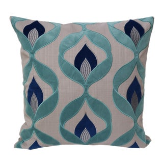 Embroidered Applique Linen Poly Green, Blue and Teal Rozendale Throw Pillow