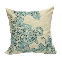 Stunning Embroidered Teal Poly Linen Throw Throw Pillow by Home Accent Pillows