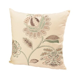 Embroidered Floral leaf Throw Pillow100% Cotton 20 x 20 by Home Accent Pillows
