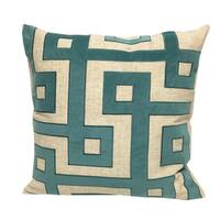 Applique Linen Poly Green and Teal Throw Throw Pillowby Home Accent Pillows