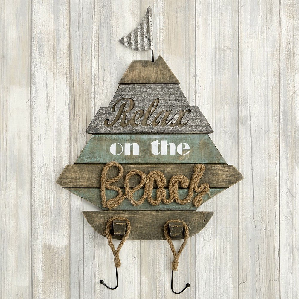 FashionCraft Boat Shaped Wall Sign - 'Relax on the Beach'...