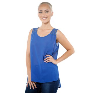 Women's Tunic Chiffon High Low Sleeveless Top