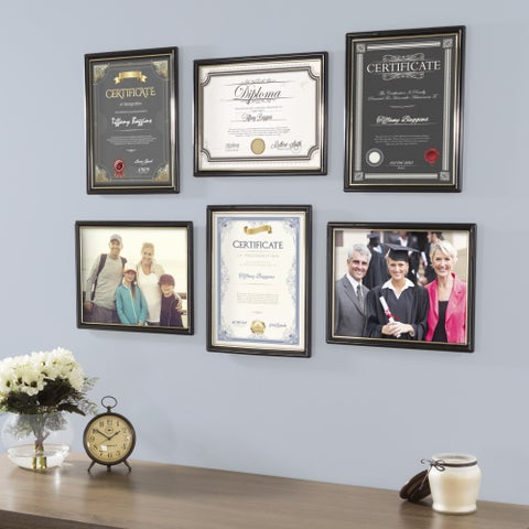 Picture Frame Set, 8.5x11 Frames For Picture Gallery Wall With Stand and Hanging Hooks, Set of 6 By Lavish Home (Black)