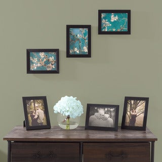 Picture Frame Set, 5x7 Frames Pack For Picture Gallery Wall With Stand and Hanging Hooks, Set of 6 By Lavish Home (Black)