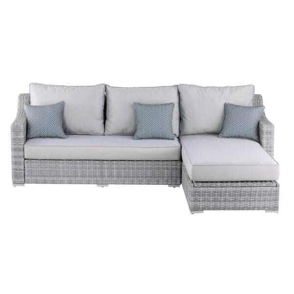 Shop Elle Decor Vallauris Grey Wicker Outdoor Storage Sectional