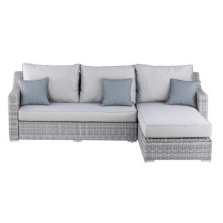 Elle Decor Vallauris Grey Wicker Outdoor Storage Sectional