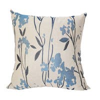 Embroidered Whimsical Lewisboro Floral Leaf Linen Poly Throw Pillow