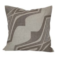 Embroidered Taupe Metallic Geometric Poly Linen Throw Throw Pillowby Home Accent Pillows