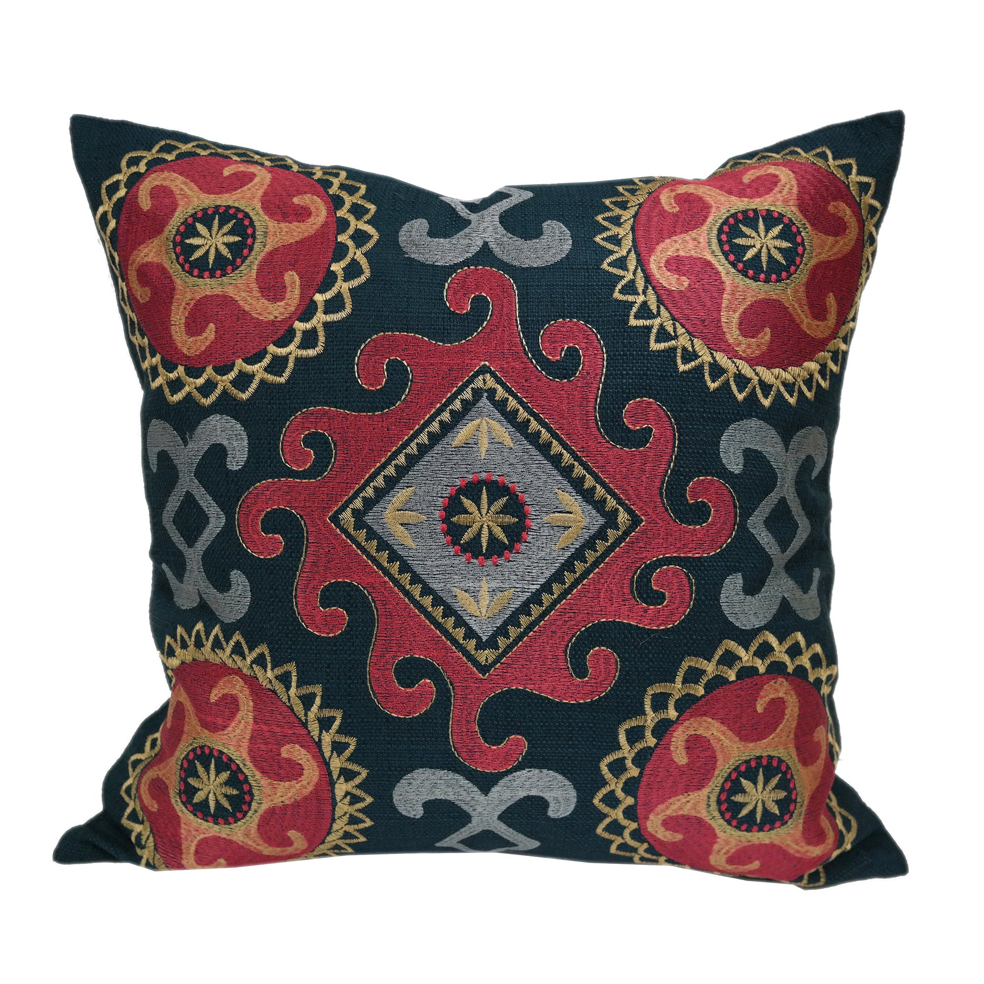 Stunning Embroidered Navy Blue Multi Color Throw Throw Pillowby Home Accent Pillows Overstock 15865748