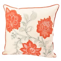 Embroidered Applique Whimsical Orange Poly Linen Floral Throw Pillowby Home Accent Pillows