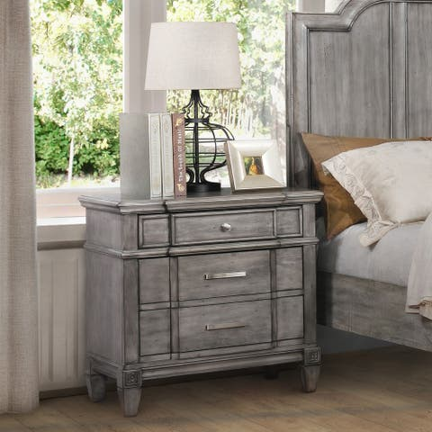 Furniture of America Wile Transitional Grey Solid Wood Nightstand