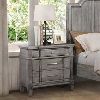Link to Furniture of America Wile Transitional Grey Solid Wood Nightstand Similar Items in Bedroom Furniture