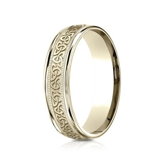 18k Yellow Gold 6-millimeter Round Edge Comfort-Fit Celtic Knot Design Band