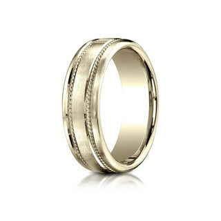 18k Yellow Gold 7.5-millimeter Comfort-fit Satin Finish Rope Carved Band