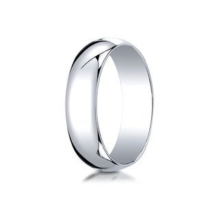 18k White Gold 6mm Slightly Domed Traditional Oval Ring