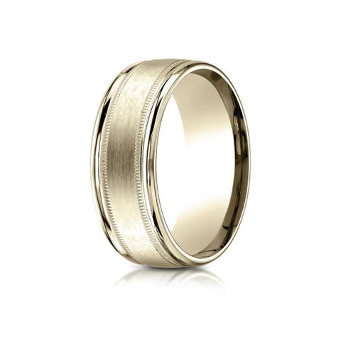 Estie G. 14k Yellow Gold 8mm Comfort-fit Satin-finish Center with Milgrain Round Edge Carved Design Band