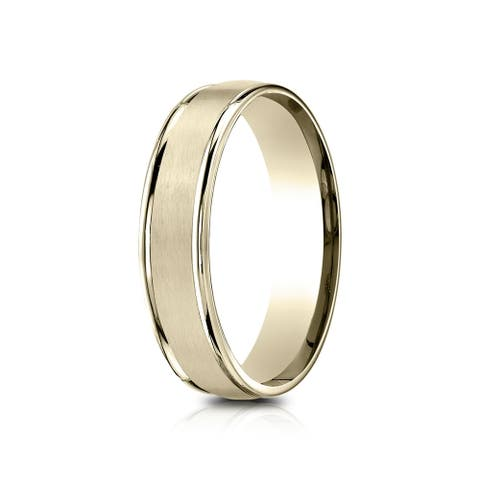 14k Yellow Gold 5mm Comfort-fit Satin Finish High Polished Round Edge Carved Design Band