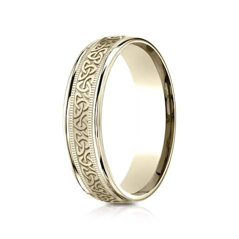 14k Yellow Gold 6mm Comfort Fit Round Edge Celtic Knot Design Band
