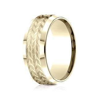 Estie G. 14k Yellow Gold 8mm Comfort Fit Beveled Edge Treaded Design Band