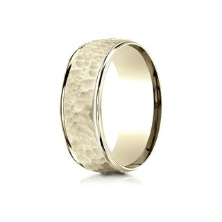 14k Yellow Gold Comfort-fit 8mm High Polish Edge Hammered Center Design Men's Band