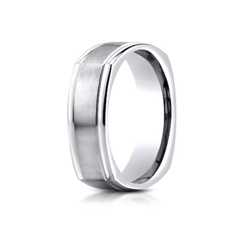 Estie G 14k White Gold 7-millimeter Comfort Fit Satin Finished Four Sided Carved Design Band