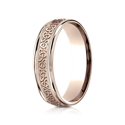 14k Rose Gold 6 mm Comfort Fit Round Edge Celtic Knot Band