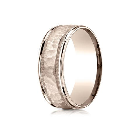 14k Rose Gold 8-millimeter Comfort-fit Hammered Center High-polish Round-edge Carved Band